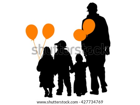 Crowd of people with balloons on a white background - stock vector