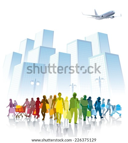 Crowd of shopping people, city with high buildings in the background - stock vector