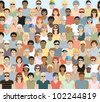 Crowd of sports spectators. Seamless. Repeats horizontally and can be stacked vertically to make a bigger crowd. One row per layer with individuals neatly grouped for easy editing. No transparencies. - stock photo