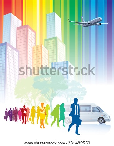 Crowd of walking people, colorful buildings in the background - stock vector