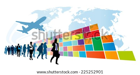 Crowd of walking people in front of colorful wall in windows metro style.   - stock vector