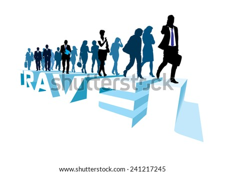 Crowd of walking people on the large word TRAVEL - stock vector