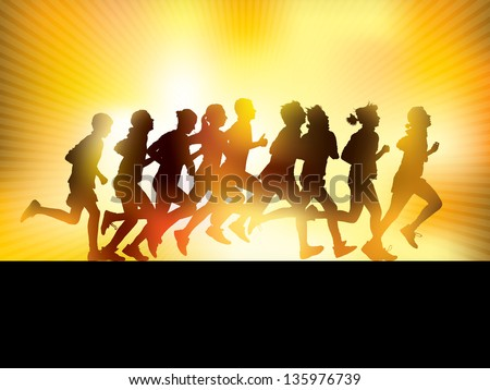 Crowd of young people running. Sport illustration. - stock vector