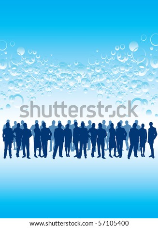 crowd on a bubble background - stock vector