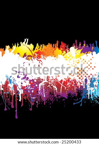 Crowd scene with people hands held high on abstract rainbow background - stock vector