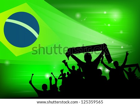 crowd silhouettes cheer Brazil - stock vector