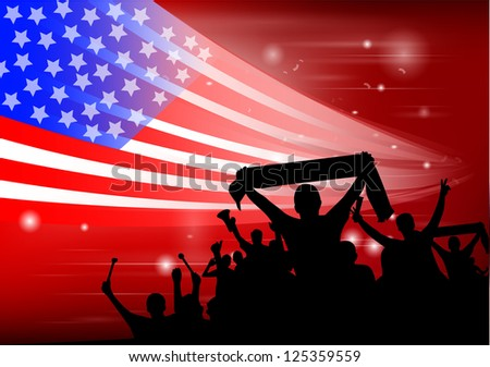 crowd silhouettes cheer USA - stock vector