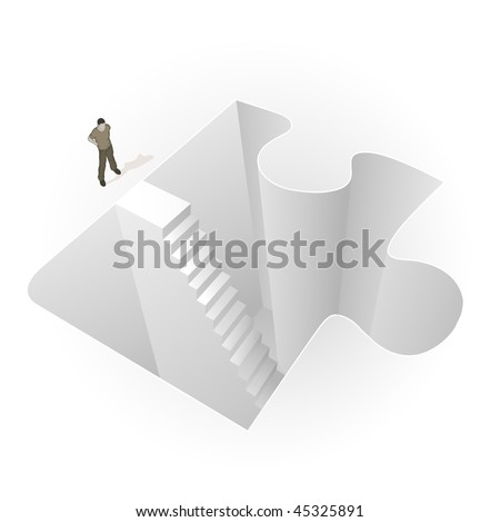 Crowd Source - Into The Puzzle. A man stands before stairs leading into a puzzle piece.