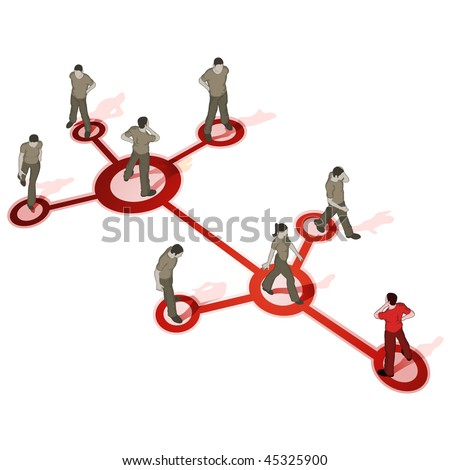 Crowd Source - Networking. People connected. High detail - stock vector