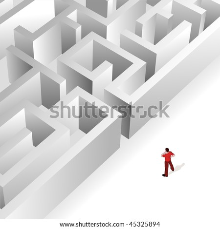 Crowd Source - Thinking Maze. A man contemplates the maze in front of him. - stock vector