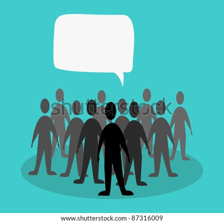 crowd speak concept in green background