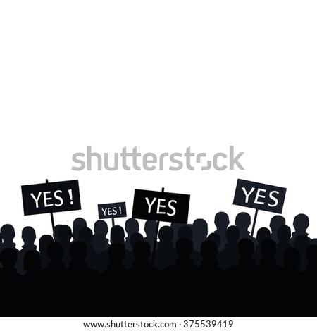 Crowd standing out. Signs to vote yes. - stock vector