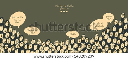 Crowd talking- cartoon characters - dark background - stock vector