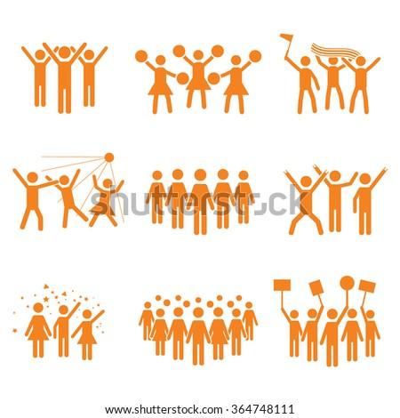 Crowd vector icon set orange - stock vector