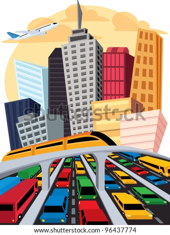 Crowded City - stock vector
