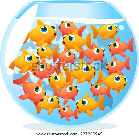 Crowded fishbowl full of fishes, with fifteen yellow and orange cute fishes vector illustration.  - stock vector