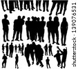 crowded people silhouette vector - stock vector