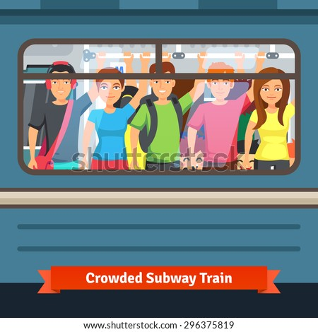 Crowded subway train. Young people standing close and holding to a hand rail. Flat style vector illustration. - stock vector