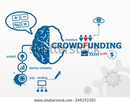 Crowdfunding concept. Crowd funding or sourcefunding public money raising for a project - stock vector
