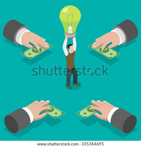 Crowdfunding flat isometric vector concept. Hands give money to man taking a bulb over his head.  Investing into idea. - stock vector