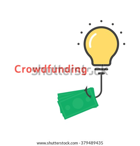 crowdfunding icon with outline bulb. concept of lamp, invest, startup income, global exchange, successful innovate, sponsor. flat style trend modern logo design vector illustration on white background - stock vector