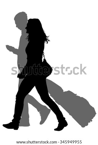 Crowds of people whit travel suitcases on white background - stock vector
