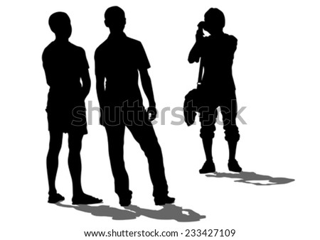 Crowds people street on white background - stock vector