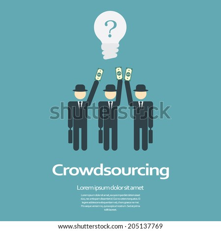 Crowdsourcing business concept. Eps10 vector illustration. - stock vector