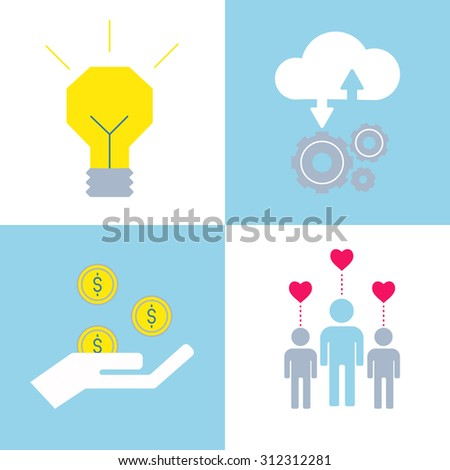 Crowdsourcing icons made in modern flat style. Crowdfunding and social illustration. Funding project by raising money using social media tools. - stock vector