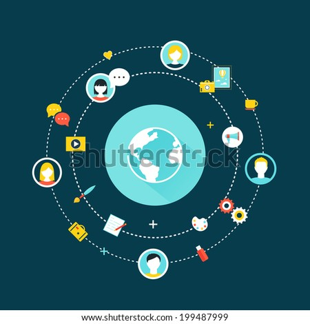 Crowdsourcing, Social Network and Media Concept - stock vector