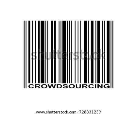 Crowdsourcing word and barcode icon