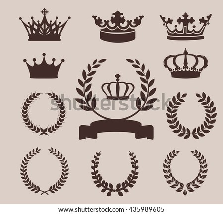 Crown and wreaths icons. Vector illustration for Your Design - stock vector