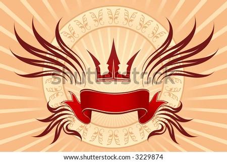 Crown & banner - stock vector