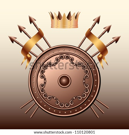 Crown, Bronze shield and crossed spears. Vector illustration - stock vector