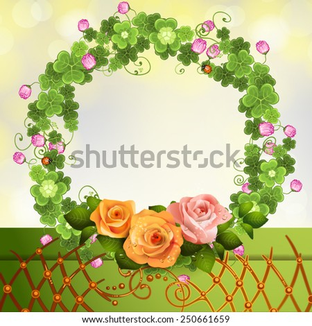 Crown clover and roses - stock vector