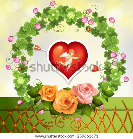 Crown clover and roses with heart and cupid - stock vector