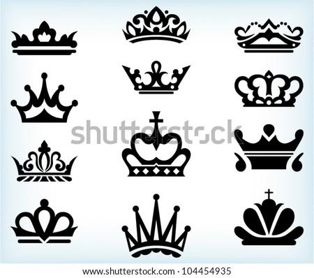 Crown collection. Vector - stock vector