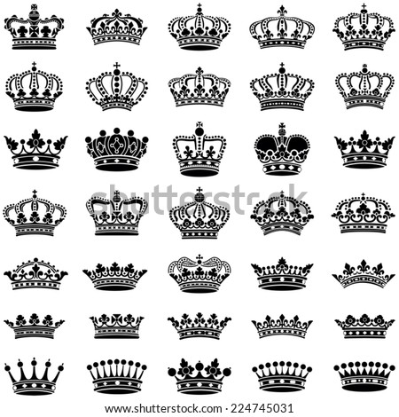 Crown collection - vector illustration - stock vector