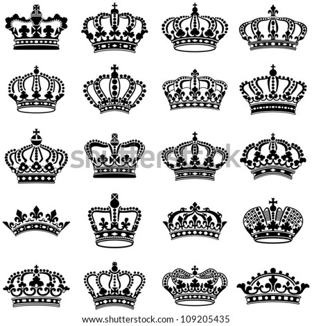 Crown collection - vector silhouette - stock vector