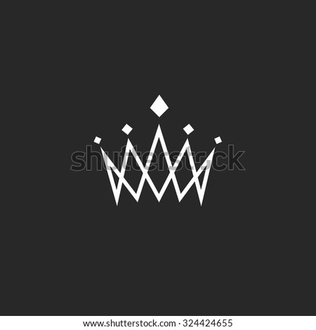 Crown design element, monogram abstract logo, thin line royal icon, template hotel emblem - stock vector