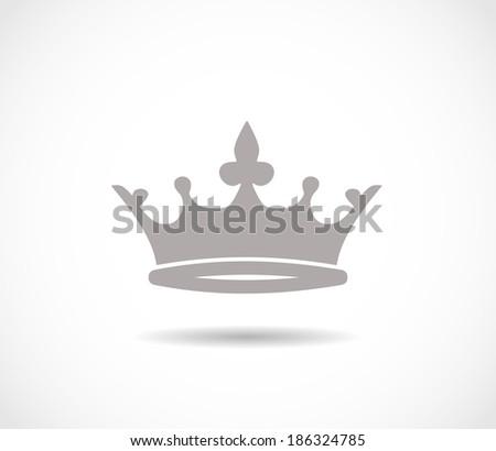 Crown grey icon VECTOR - stock vector