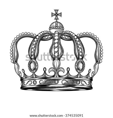 Crown. Hand drawn vector illustration. - stock vector