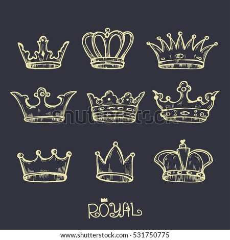 crown hand drawn. vector illustration icons