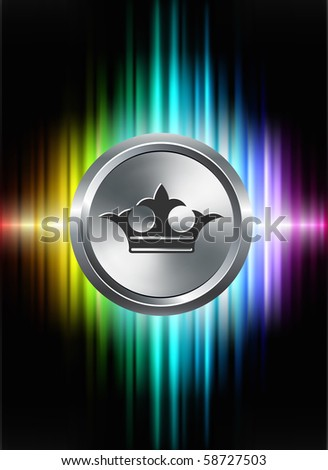Crown Icon Button on Abstract Spectrum Background Original Illustration - stock vector