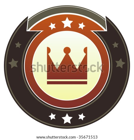 Crown icon on round red and brown imperial vector button with star accents suitable for use on website, in print and promotional materials, and for advertising. - stock vector