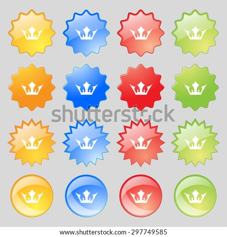 Crown icon sign. Big set of 16 colorful modern buttons for your design. Vector illustration - stock vector