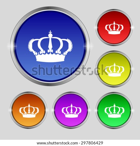 Crown icon sign. Round symbol on bright colourful buttons. Vector illustration - stock vector