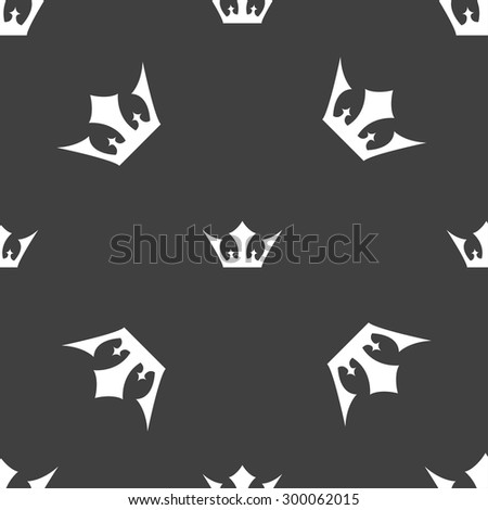 Crown icon sign. Seamless pattern on a gray background. Vector illustration - stock vector