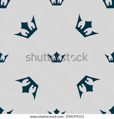 Crown icon sign. Seamless pattern with geometric texture. Vector illustration - stock vector