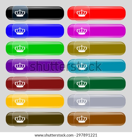 Crown icon sign. Set from fourteen multi-colored glass buttons with place for text. Vector illustration - stock vector
